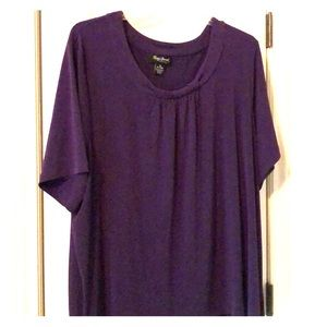 Purple shirt sleeve blouse, 3X, Maggie Barnes